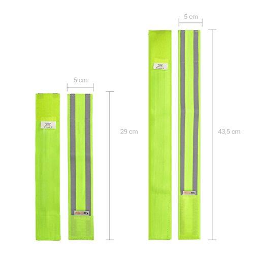 kwmobile 6x Reflektorband elastisch Neon-Gelb - Reflektor Armband 4x lang 2x kurz mit Klettverschluss - EN13356 Reflexband Sicherheit Kinder Fahrrad