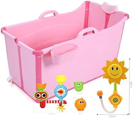バスタブポータブルベッド折りたたみバスタブ、プラスチックバスタブ、Bathtu (Color : Pink)