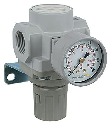 "PneumaticPlus SAR400-N06BG Compressed Air Pressure Regulator 3/4"" NPT - Bracket, Gauge"