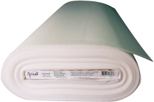 Bosal Fusible Non-Woven All Purpose Heavyweight Interfacing, 27-Inch by 25-Yard, White by Bosal