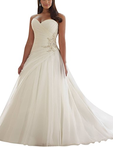 Informal Wedding Gown Long Dress - ASBridal A line Tulle Sweetheart Long Wedding Dresses Birdal Gowns 2016 Ivory US 12