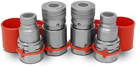 1/2″ Skid Steer Flat Face Hydraulic Quick Connect Couplers/Couplings Set w/Dust Caps, 2 Sets