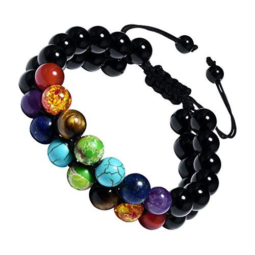 CAT EYE JEWELS Adjustable Beads Bracelet 8mm Double Layer 7 Chakra Natural Energy Healing Stone B009