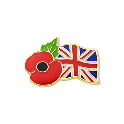 Poppy & Union Flag Enamel Lapel Pin Badge 1