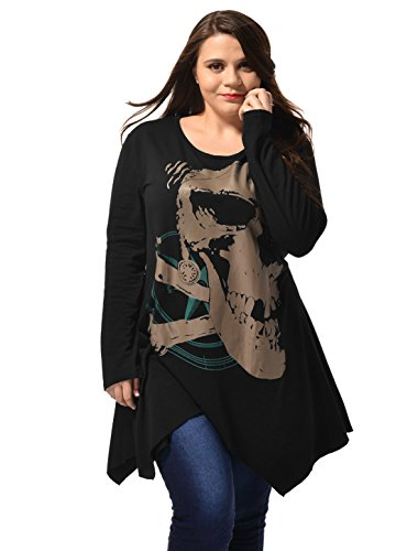 uxcell Alya Ladies Asymmetric Hem Skull Print Plus Size Blouse T-Shirt Black - Designer Plus Watches Womens Size