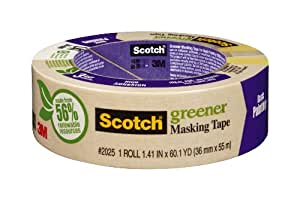 3M Scotch 2025-36C 1.41-Inch by 60.1 Yards Masking Tape for Basic Painting, 1 Roll