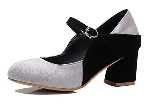 Frosted Pumps Kitten Assorted 41 Color Gray Women's Buckle Heels Odomolor Shoes UxwC5ZPq0