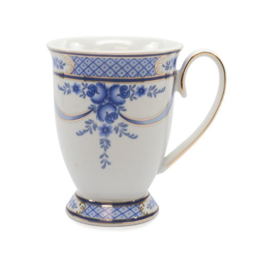 Royalty Porcelain Mug for Tea or Cofee, 24K Gold, Fine Bone China Porcelain (Floral Cobalt -