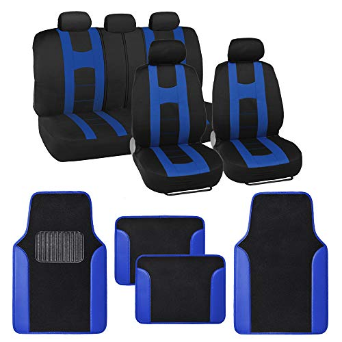 BDK Combo Sport Accent Car Seat Covers (2 Front 1 Bench) Auto Carpet Floor Mats (4 Set) with Heavy Protection Sleek Graphic Two Tone Fresh Design All Protective - Blue Accent (1987 Ford F150 Accessories)