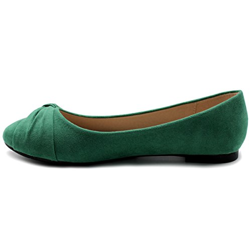 Ollio Scarpa Da Donna Balletto Finta Pelle Scamosciata Verde