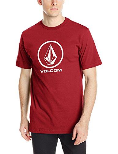 (Volcom Men's Stone Logo Branded T-Shirt, Deep Red, Large)
