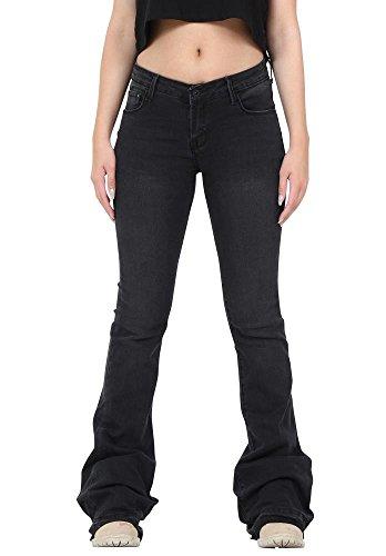 Faded Ausgestelltes Hipster Bootcut-Stretch-Jeans mit ausgefransten Beinenden - Schwarz