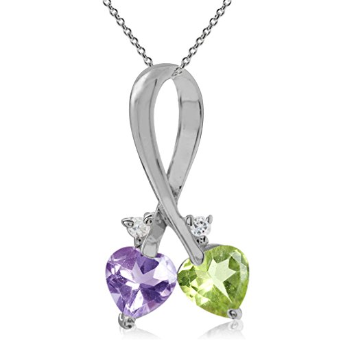 Natural Peridot, Amethyst & Topaz 925 Sterling Silver Twin Heart Pendant w/ 18 Inch Chain Necklace