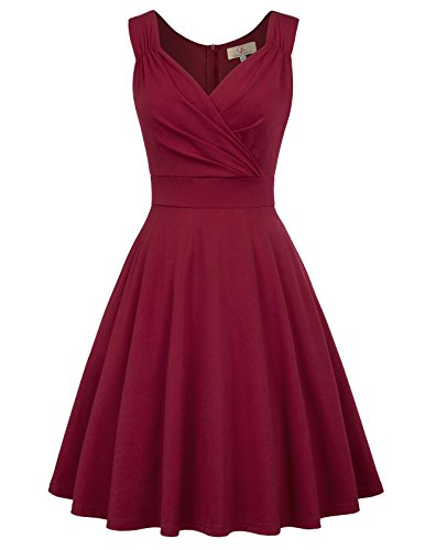GRACE KARIN Women's V-Neck Flared Work Coctail Party Dress Size XL Wine Red CL698-2 (Wedding Dress Material)