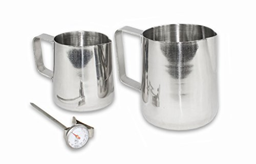 CucinaPrime Commercial Frothing Pitcher Set with Thermometer, Stainless Steel, 14 Ounce and 20 Ounce Pitchers - Frothing Stainless Milk Thermometer Steel
