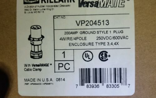 Killark VP204513 Pin and Sleeve Plug, 4 Wire, 4 Pole, 200 Amp, 600V, Copper-Free Aluminum