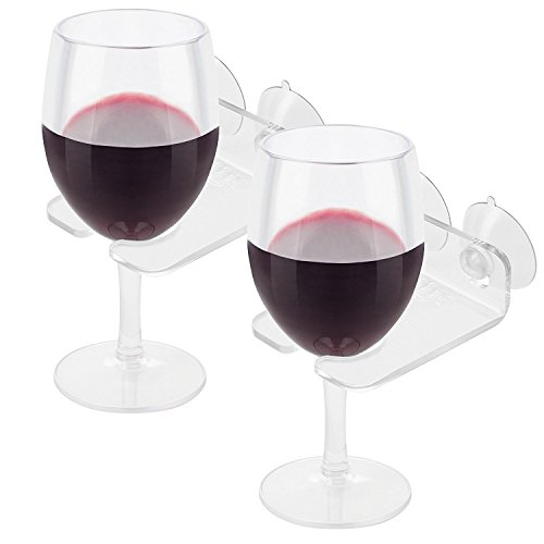 House Ur Home Bathtub Wine Glass Cupholder. Caddy Shower & Relax Bath with Powerful Strong Suction Cups, Clear Acrylic (2 Set)