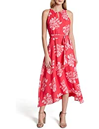 Women's Sleeveless Ruched Neck High Low Dress