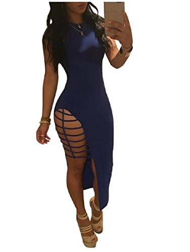 SportsX Womens Hollow Out Sleeveless Mid Fitted Sexy Side Slit Dress AS1 XS