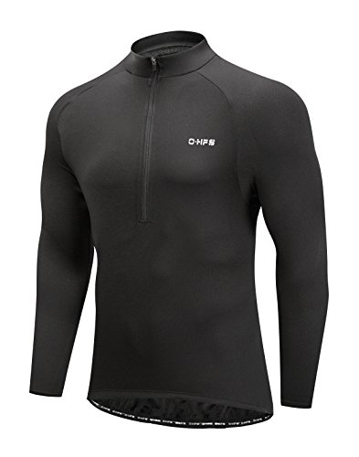 Black Mens Bike Jersey - Men's Cycling Jersey, Long Sleeve Bicycle Bike Shirt, Reflective & Quick Dry (XL, Black)