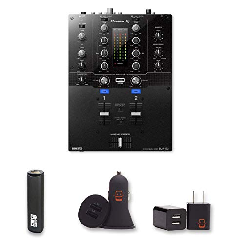 Pioneer DJ DJM-S3 2 Channel Mixer for Serato DJ with 2 Year Warranty + PowerBank, USB Car Charger, USB Wall Charger, EZEE Bundle ()