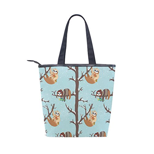 Sloth Shoulder On Womens Handbag Winter MyDaily Bag Tote Tree Canvas wHqHvEX