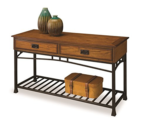 Modern Craftsman Distressed Oak Sofa Table by Home - Sofa Traditional Metal Table