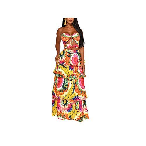 Fashion wonderland Sexy Women Print Floor Length Dress Sleeveless Strapless Hollow Out Ruffles Long Dress,Orange,XXL