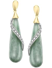 Natural Jade Drop Earrings with Diamonds in Sterling Silver and 14k Yellow Gold