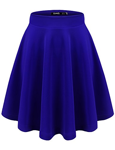 TWINTH Womens Versatile Stretchy Pleated Flare Skater Skirt Royalblue XL