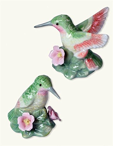 Victorian Trading Co Hand- Painted Porcelain Hummingbird Salt & Pepper Set