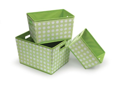 Buy Discount Badger Basket 3 Pack Polka Dot Nesting Trapezoid Shape Folding Baskets, Sage