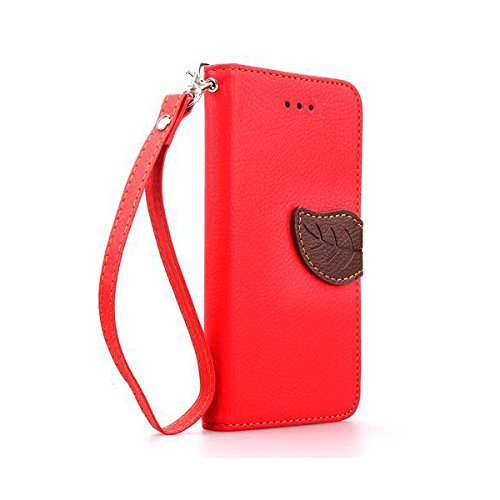 Sony Xperia Z1 Compact Case, Nicelin(TM) Leaf Pattern PU Leather Wallet Type Magnet Design Flip Stand Case for Sony Xperia Z1 Compact with Stylus (NOT for Sony Xperia Z1) (Red)
