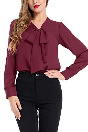 n Blouse Business Button Down Shirt for Work Casual with Long Sleeve Wine Red ()