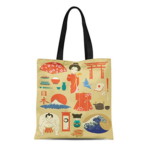 Semtomn Canvas Tote Bag Shoulder Bags Japan Landmarks, used for sale  Delivered anywhere in USA