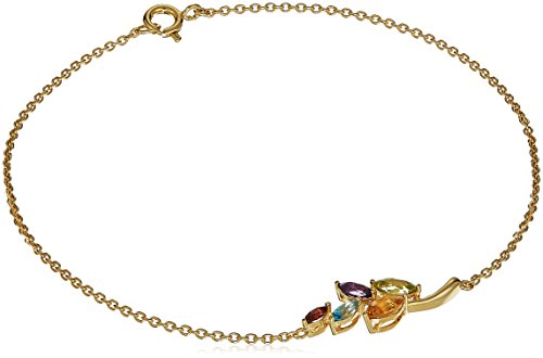 18K Yellow Gold Plated Sterling Silver Genuine Multi Gemstone Marquise Cut Leaf Anklet, 9.5