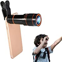 TechSky Phone Lens Zoom 12X Optical HD Cell Phone Camera Telephoto Telescopic Lens with Universal Clip Compatible with Android and All Other Smartphones
