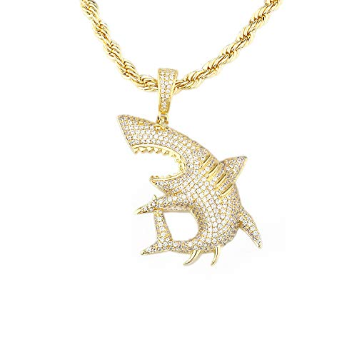 - TENG LAI Cubic Zircon Pendant Men's Hip Hop Necklace (Shark-Gold)