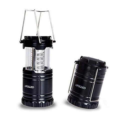 APOLLED Camping Lantern, 30 LED Camping lights with Batteries, Ultra Bright, Portable, Waterproof Lights for Hiking, Camping, Emergencies (Black,1 pack).