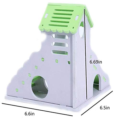 Picture of Kathson Wooden Hamster House, Hamster Hideout,Hamster Toys,Durable Odorless Non-Toxic Deluxe Two Layers Wooden Hut (Green)
