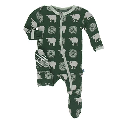 Kickee Pants Little Boys Print Footie with Zipper - Topiary Tuscan Sheep, 18-24 Months