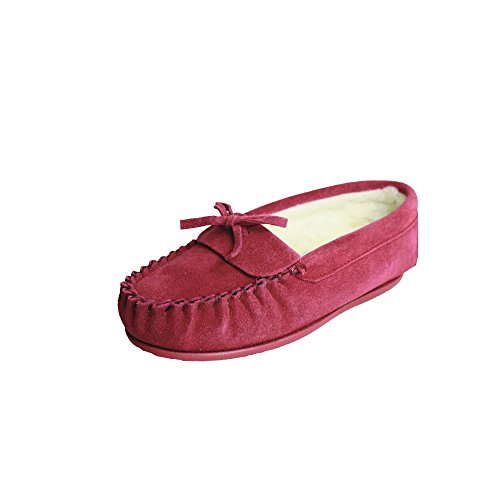 Eastern Counties Leather Damenmoccasins Edie mit Futter Aus Wollmischung Purpurrot