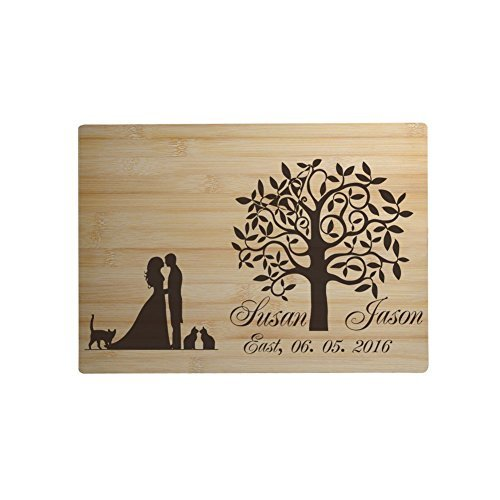 Personalized Bamboo Wood Wedding Cutting Board Engraved Bride and Groom Silhouette Tree Custom Wedding Gifts for Couple Wedding Favor imouSde