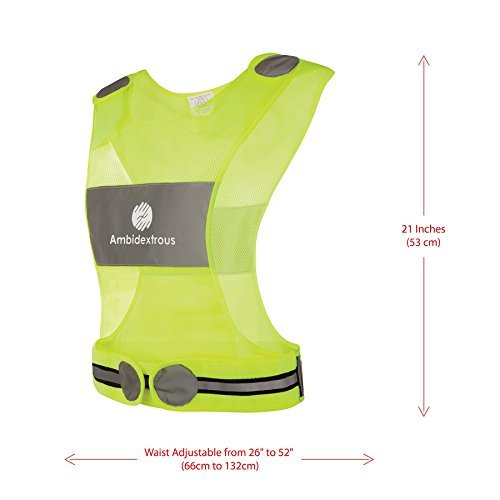 Ambidextrous Reflective Vest for Running Cycling Jogging Motorcycle Dog Walking High Visibility Safety Gear for Men and Women Yellow Lightweight Breathable Mesh Fabric with Zipper Storage Pocket