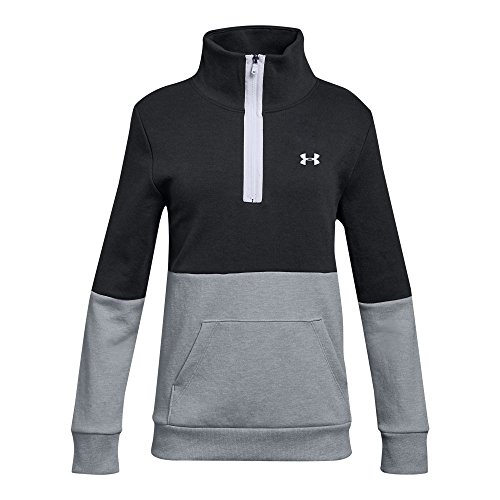 Under Armour Girls Double Knit 1/2 Zip, Black (001)/Black, Youth X-Large
