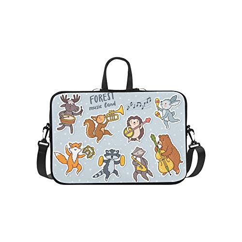 Vector Forest Dancing Animals Fox Raccoon Pattern Briefcase Laptop Bag Messenger Shoulder Work Bag Crossbody Handbag for Business Travelling