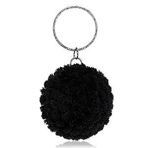 DIEBELLAU New Women's Mobile Handbags Handmade Flower Evening Bag (Color : Black, Size : XS)