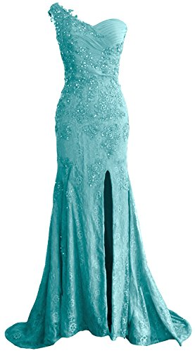 MACloth Turquoise Women Shoulder Lace Dress Evening One Prom Long Mermaid Formal Gown rFraPqw
