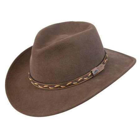 (Conner Hats Men's Jasper Outback Waterproof Wool Crusher Hat, Brown, L)