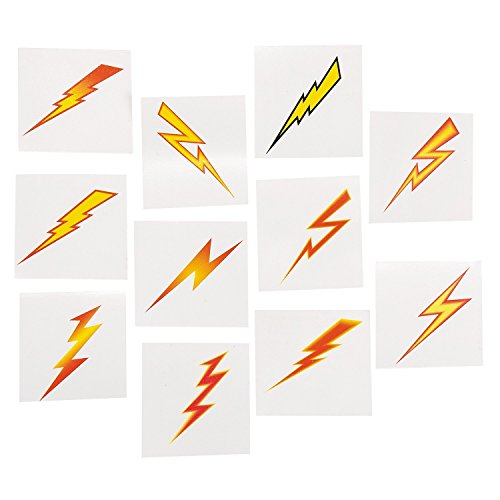 Lightning Bolt Tattoos (72 Pack) Easy to Apply and Remove. Non-toxic. -